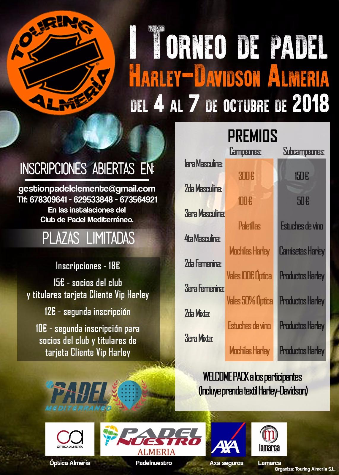 Torneo Harley-Davidson Almería del 4 al 7 de Octubre del 2018
